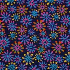 Navy Flower Power Cotton Calico Fabric