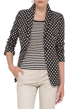 Free shipping and returns on Akris punto Dot Print Blazer at Nordstrom.com. Pre-order this style from the Pre-Spring/Resort 2017 collection! Limited quantities. Ships as soon as available. You'll be charged only when your item ships.Ivory-hued dots add a playful pattern to a beautifully tailored cotton-blend jacket with a crisp collar designed to be popped.