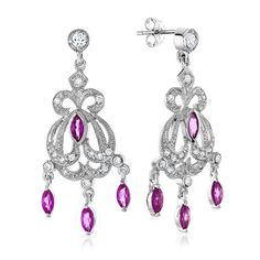 Rose Ruby Chandelier Earrings in Sterling Silver #Fashion