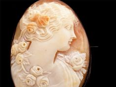 Hand Carved Cameo Victorian Brooch Shell by TheJewelryLadysStore,
