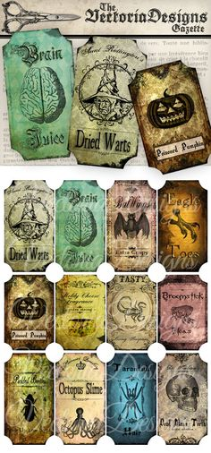 Halloween Bottle Jar Labels Tags instant by VectoriaDesigns