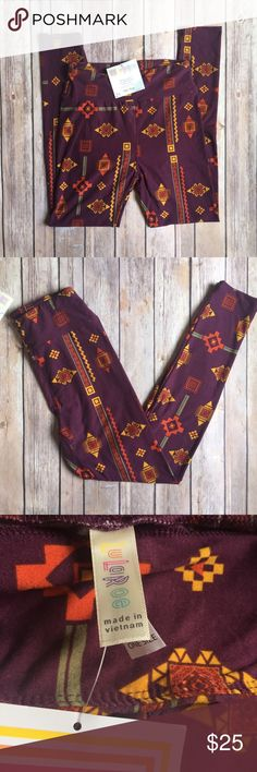 LulaRoe Geometric Tribal Print O/S Leggings LulaRoe Geometric Tribal Print O/S Leggings. NWT, sought-after tribal print - royal purple color with burnt orange, marigold yellow and sage green patterns. Made in Vietnam. *Note: I am not a consultant, just bought way too many and need to downsize. Open to respectful offers.   ⭐️ Bundle & Saved, No Trades ⭐️ Posh Compliant, Posh Rules Only ⭐️ All Offers Accepted or Countered ⭐️ Smoke & Pet Free Environment LuLaRoe Pants Leggings