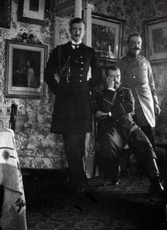 """Tsar Nicholas II, Kirill Vladimirovich and Ernest of Hohenlohe-Langenburg. Kirill and Nicholas were first cousins. Ernst was married to their mutual first cousin, Alexandra of Edinburgh. """"Sandra"""" became Kirill's sister-in-law..."""
