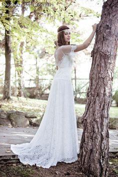 Boho Long Wedding Dress Ivory Lace Wedding Gown Long Bridal Gown White Lace Bridal Wedding Dress - Handmade by SuzannaM Designs    ~ This Long