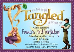 Tangled rapunzel girl customizable birthday invitation digital tangled rapunzel birthday party invitation filmwisefo