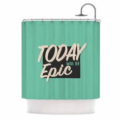 """Juan Paolo """"Epic Day"""" Vintage Teal Shower Curtain"""