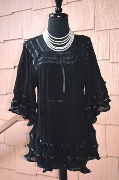 Mexican Gauze Sheer Crochet Lace Bell Kimono Drape Gypsy Dress Top on Etsy, $45.00