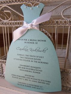 Tiffany Bridal Shower - Die Cut Dress - Customize with Pearls and Ribbon