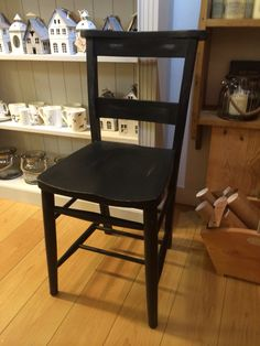 Elegance and charm for this chapel chair painted in Nearly Black Autentico Chalk Paint then slightly distressed.