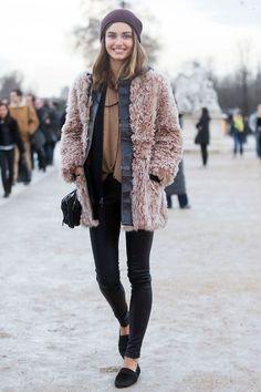 Shaggy coat + layers... - Street Style