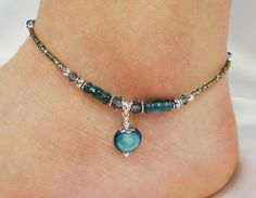 Anklet Ankle Bracelet Blue Mother of Pearl by ABeadApartJewelry, $12.50