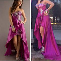 Fashion Colorful Rhinestones Beaded Prom Dresses Sweetheart Neck