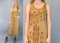 Vintage 90s Tan Hippie India Ethnic Boho Floral Embroidered Soft Rayon Festival Long Midi Maxi Dress Sleeveless Gypsy Bohemian by BlueFridayVintage