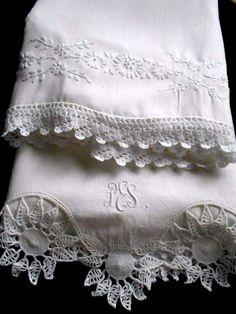Lot of 2 Vintage White on White Embroidered Pillowcases Crochet Edge Shabby Chic Linens And More, Embroidered Pillowcases, Shabby Chic Cottage, Needful Things, Lace Shorts, Pillow Cases, Quilting, Romantic, Sewing
