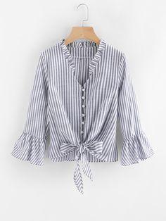 Blusa fruncido de rayas en contraste con nudo-Spanish SheIn(Sheinside)