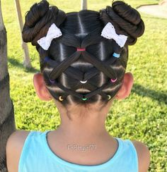 """✨""""Don't let anyone ever dull your sparkle. Elastic crisscross ponies into pigtail buns for a hot summer day 👧🏻 The cute little bows are from . Hope you are having a lovely day! Girls Hairdos, Cute Little Girl Hairstyles, Girls Natural Hairstyles, Baby Girl Hairstyles, Kids Braided Hairstyles, Princess Hairstyles, Pretty Hairstyles, Natural Hair Styles, Long Hair Styles"""
