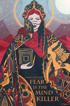 """""""I must not fear. Fear is the mind-killer. Fear is the little-death that brings total obliteration. I will face my fear. I will permit it to pass over me and through me. And when it has gone past I will turn the inner eye to see its path. Jodorowsky's Dune, Dune Art, Dune Film, Illustrations, Illustration Art, Dune Frank Herbert, Arte Popular, Science Fiction Art, Sci Fi Movies"""