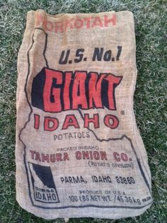 Idaho Potato - Burlap Sack or Gunny Sack for repurposing Idaho Potatoes, Sacks, Repurposing, Burlap, Reusable Tote Bags, Craft Ideas, Unique Jewelry, Handmade Gifts, Crafts