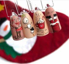 Nail Art Noel, Xmas Nail Art, Christmas Nail Art Designs, Christmas Gel Nails, Holiday Nails, Christmas Ornaments, Best Acrylic Nails, Acrylic Nail Designs, Cute Nails