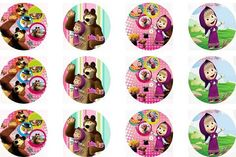 Masha and the Bear edible cupcake topper decorations x 24 PRECUT wafer card FREE SHIPPING