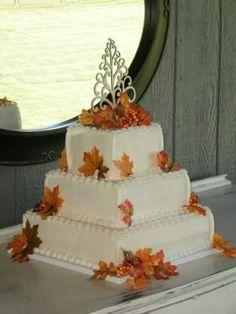 Maple leaf wedding cake