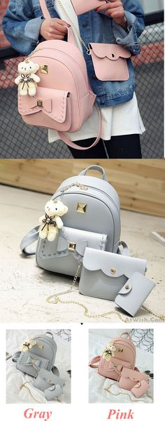 Lovely Bear Pendant PU School Backpacks Gray Pink Splicing Bowknot School Bag for big sale!  #PU #school #lovely #bear #pendant #college #bag #bow