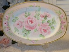 ROMANTIC+FLOWING+ROSE+TRAY+hp+chic+shabby+vintage+cottage+hand+painted+pink+art++#VINTAGESILVERPLATE