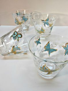 Libbey Drink Ware Turquoise Blue and Gold Butterflies Low Ball http://etsy.me/2nOAcqF @Etsy #Etsy #butterfly #sixties #highball #lowball