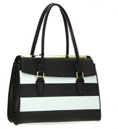 Faux Leather Striped Shoulder Hand Bag 45 Black
