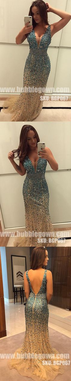 V Neck Sexy Mermaid Heavy Beaded Sparkle Long Evening Prom Dress, BGP067 #promdress #promdresses #longpromdress #longpromdresses #eveningdress