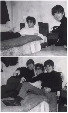 John,George and Ringo in a hotel room,1963 (The Hair and glasses on John=Epic Win)