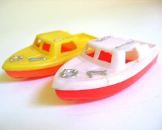 Vintage 1970's Toy Boats Float in Water