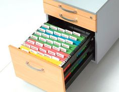 Colour coded filing system. Active (12 Months or earlier) in top filing draw, inactive files (over 12 months) in bottom drawers.