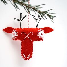 Scandinavian Red Felt Reindeer Ornament - hand embroidered ornament - folk art…