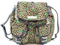 Amazon.com: Womens Betsey Johnson Cheetah Baby Cargo Backpack Handbag (Natural Leopard Print): Clothing