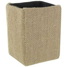 """Store and organize your favorite pens and pencils in this Burlap Pencil Holder! This adorable accessory, lined with dark brown mesh fabric, would look great in your craft room or on your desk at the office!    Dimensions:      Length: 3 1/8""""    Width: 3 1/8""""    Height: 4 1/2"""""""