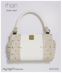 Miche Rhian Classic Luxe Shell - March 2013  from MyStylePurses.com - White and Taupe Purse with Gold Stud details