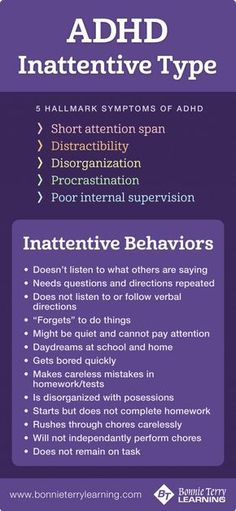 Kids Health ADHD Inattentive Type Symptoms and Behaviors - In order to be diagnosed with ADHD by a professional, the ADHD symptoms must have persisted for at least six months and have been present before the age of 12 years according to the Adhd Symptoms In Children, Anxiety In Children, Adhd Children, Symptoms Of Adhd, Add Symptoms In Women, Young Children, Anxiety Disorder Symptoms, Anxiety Attacks Symptoms