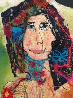 by Amy Mimu Rubin-detail of Woman In Stitches on painted canvas, free motion and hand stitching and embroidery.