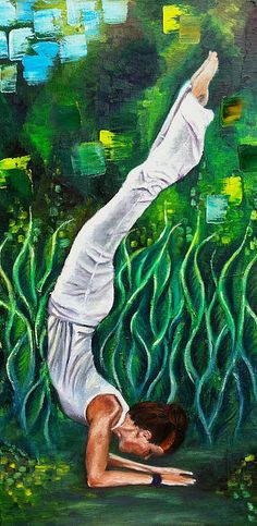 Yoga Art. Available as original oil on canvas painting, print, or iphone case... @ http://fineartamerica.com/featured/yoga-asana-ardha-vrishchikasana-half-scorpion-pose-mila-kronik.html