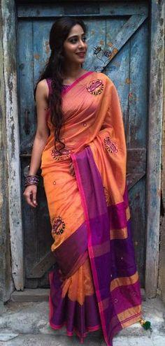 Peach Magenta Nath Maheshwari Saree