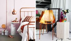 Cooper as a material is very popular in interior design. Also many industrial designers find cooper very interesting material to experiment with. Industrial Bed, Industrial Design, Refurbished Furniture, Woman Painting, Diy Art, Bar Stools, Home Goods, House Design, Interior Design