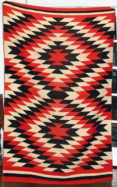 Ganado Hubbell Revival Navajo Weaving In Bold Red Black And White Ethnic Patterns Pinterest Bald Hairstyles