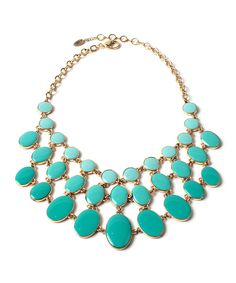 Look at this Reversible Peach & Turquoise Cleo Enamel Bib Necklace on #zulily today!