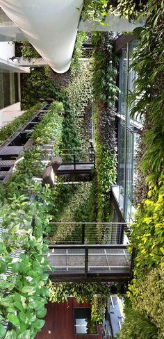 Greenery to hide columns and mesh facade elements /// An Unexpected Hanging-Garden   Singapore   AgFacadesign & Tierra Design