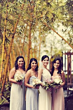 Real Wedding: Lindsay and Rob's Maui Destination Wedding- Bride and bridesmaids dresses