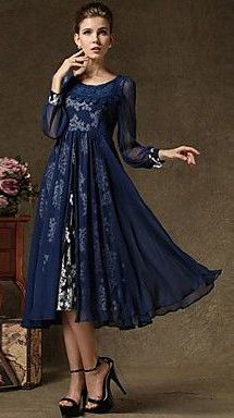 Two -Piece Vintage Long Sleeved Dress