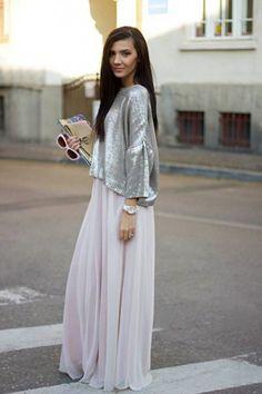 Cómo combinar las faldas largas en primavera: Fotos de los modelos