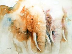 """Two of a Kind Elephant Couple"" original fine art by Arti Chauhan"