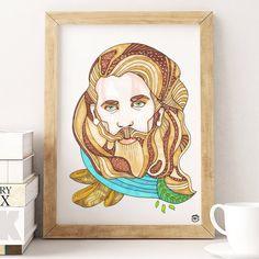 Beardo Handsome Man A4 illustration print art art print by mmuffn
